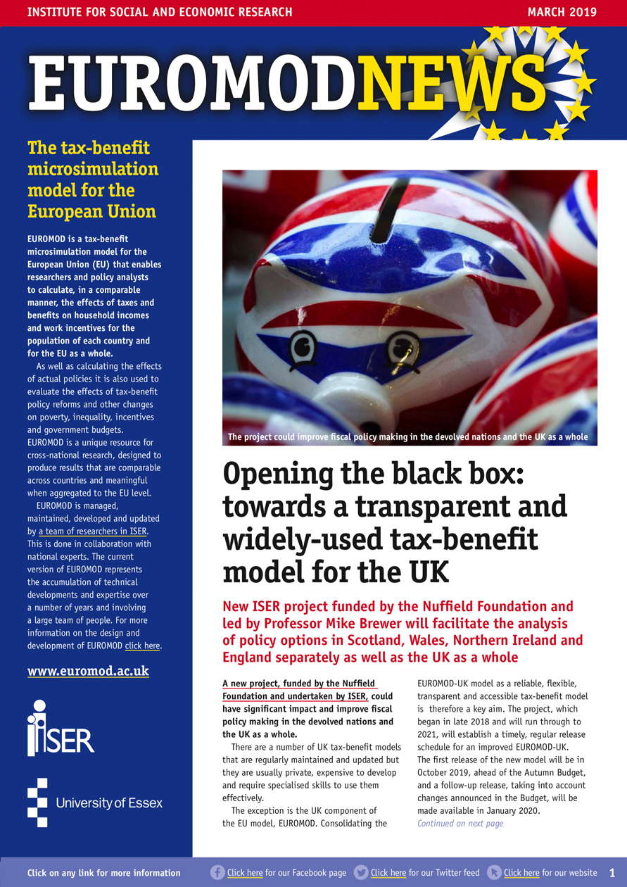 EUROMOD newsletter March 2019 cover