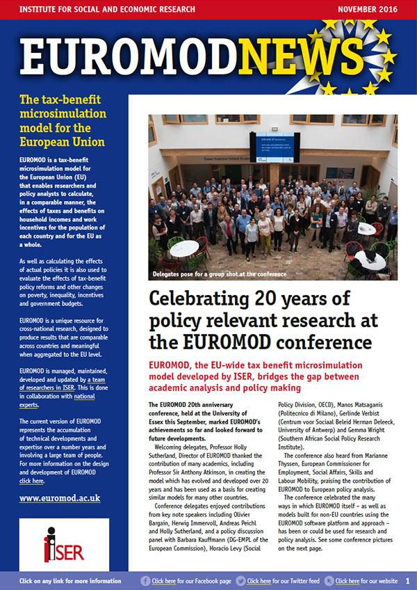 EUROMOD news November 2016 cover